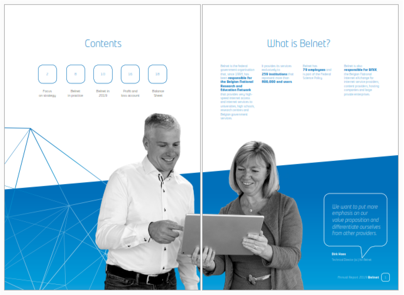 Image of the inside of the annual report with Dirk Haex and Nathalie Pinsart looking at a computer screen. In the background of the picture, there is on the left the table of contents and on the right a description of Belnet.