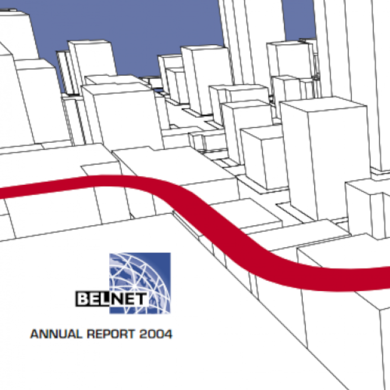 Cover of the 2004 annual report showing a city drawing from above.