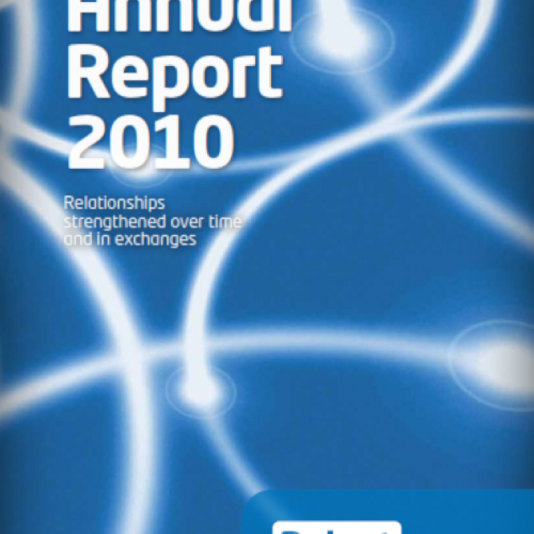 Cover of the 2010 annual report representing a network in an abstract way using white circles superimposed on a blue background.