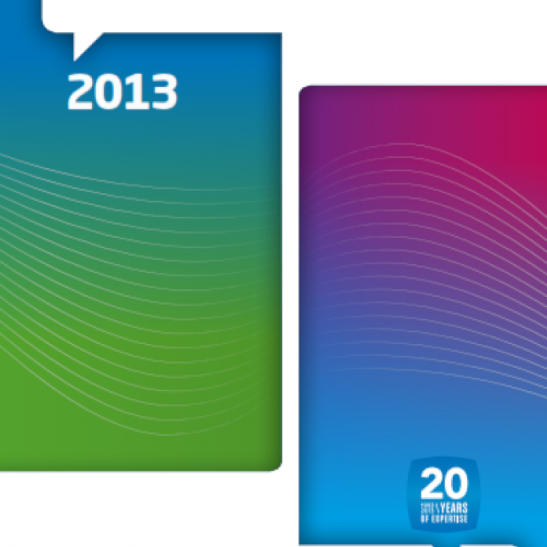 Cover of the 2013 annual report showing two vertical rectangles with gradient colors. At the top of the rectangle on the left is the number 2013, at the bottom of the right rectangle is the logo of the 20th anniversary of Belnet.