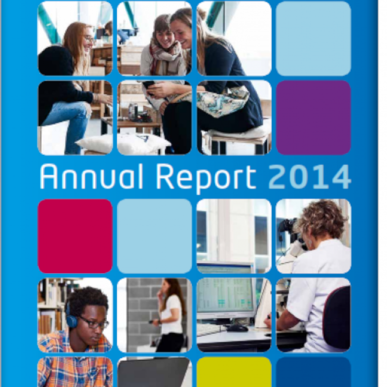 Cover of the 2014 annual report with students, researchers, busy working. The image is squared and some squares contain only color.