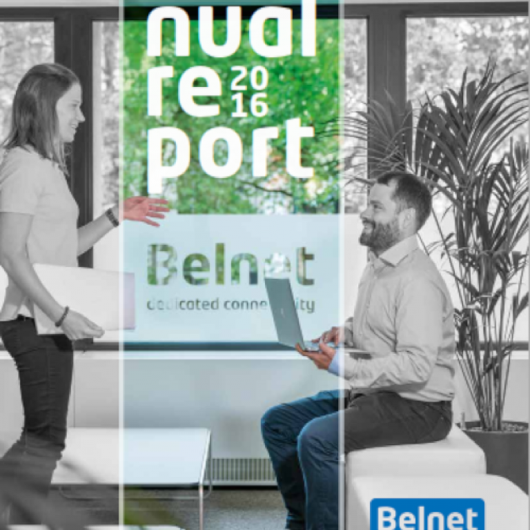 Cover of the 2016 annual report. A woman is standing and talking with a man sitting on a bench. They are at the reception of Belnet.