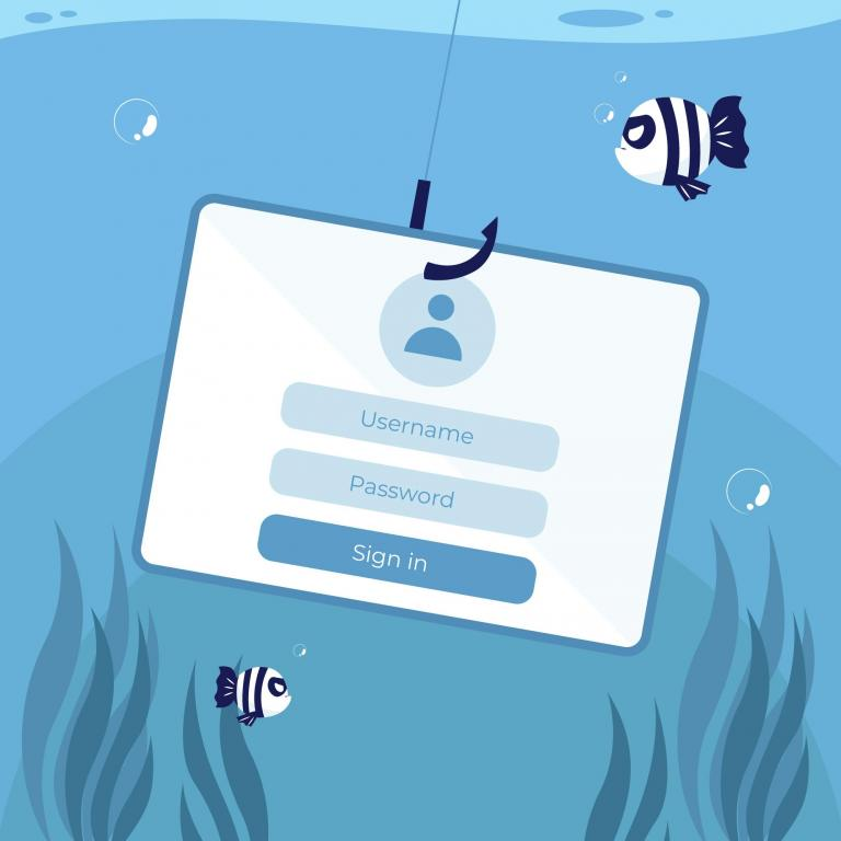 illustration of the phishing concept: a login screen attached to a hook
