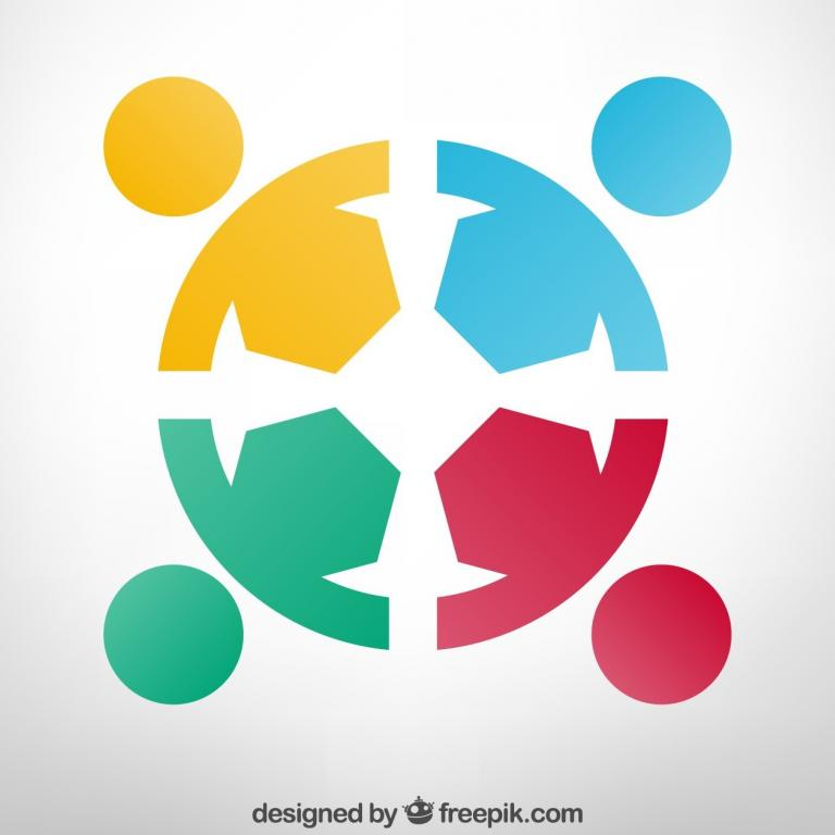 Symbol of cooperation, illustration consisting of 4 colored persons that together form a circle