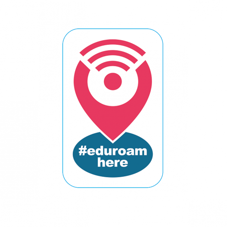 eduroam sticker with the text #eduroamhere